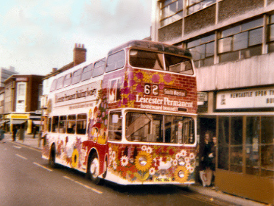 Leicester City Transport : Leyland Atlantean PDRA/1 : PBC 	115G : LCT's first overall advert bus, in 1971