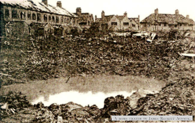 the crater at the back of the houses Nos20 - 60 James Reckitt Avenue, in 1941.