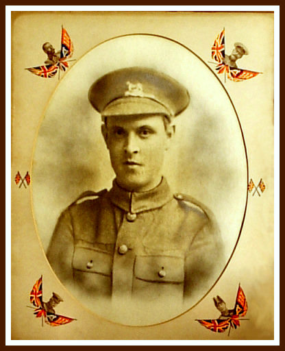 Harry Holt, Pte, in the uniform of the Royal Leicestershire Regiment, around the start of the Great War.