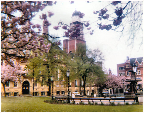 Town Hall Square; springtime, around 1970